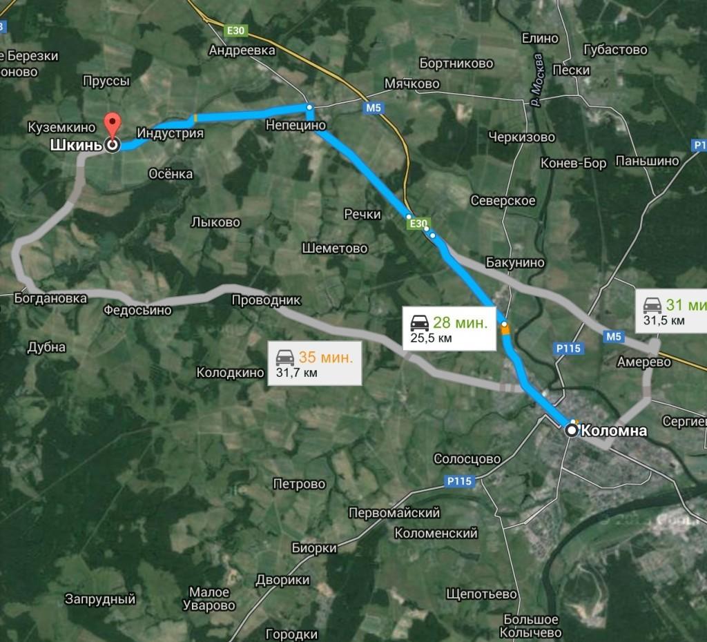 Как добраться из Коломны до села Шкинь